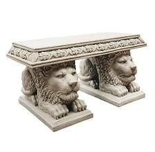 Estate Castle Lions Sculpture Bench