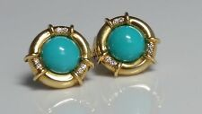 Tiffany & Co. Turquoise &  Diamond 18k Solid Gold  Vintage Earrings