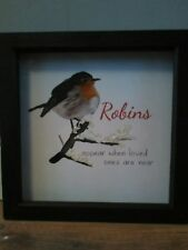 Robin's appear  memory quote keep sake box frame picture print glitter love