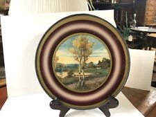 """Antique Flue Cover Wall Hanging Victorain Cabin By Lake Print 9 1/2"""""""