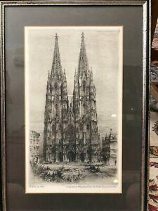 "Paul Geissler Original Etching Print, 8"" x 14"" (Image), 12 3/8"" x 18 1/4"" (Frame"