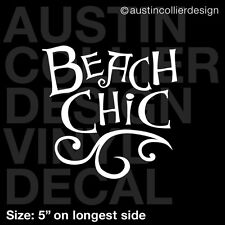 "5"" BEACH CHIC vinyl decal car window laptop sticker - babe"