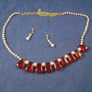 Red Drops & Pearls Choker 16 to 20 Inches W/ Matching Pierced Pearl Earrings