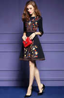 Ethnic Vintage Womens Embroidery A-line Skater Dresses Round Collar Basic Dress