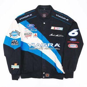 Vintage JH DESIGN Nascar Black Sports Cotton Casual Bomber Jacket Mens L