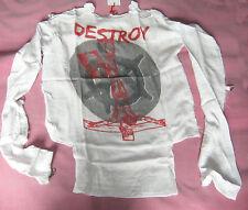 Destroy White Muslin Bondage Shirt Goth Repro Seditionaries Sex Pistols Punk NEW