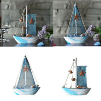 2-pack Handmade Nautical Wooden Sailing Sailboat Ornament Wall Desktop Decor