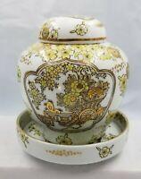 RARE Gold Imari Chinoiserie Japan Handpainted Ginger Jar & Trinket Dish