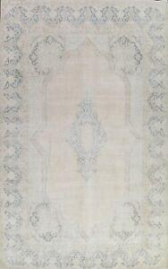 Antique Geometric Distressed Kirman Evenly Low Pile Area Rug Handmade Wool 10x14
