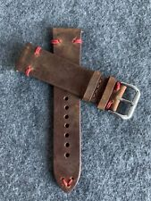 22mm DARK BROWN Crazy Horse Vintage Leather Watch Strap Band RED Stitch