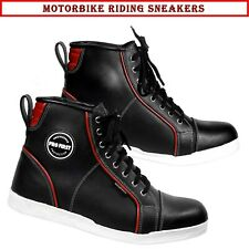 Men Motorbike Motorcycle Sneakers New Bikers Shoes Genuine Leather Casual Boots