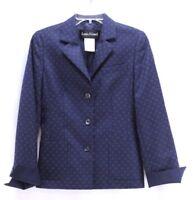 womens navy blue geometric LOUIS FERAUD blazer suit jacket wool S 4