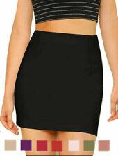 Womens High Waisted Plain Crepe Summer Bodycon Tube Pencil Short Mini Skirt UK