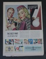 Original Print Ad 1948 GE Bulbs Lamps General Electric Dick Williams Vintage Art