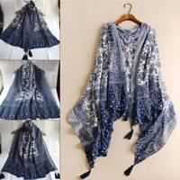 Vintage Women Autumn Soft Cashmere Blend Pashmina Long Tassel Shawl Wrap Scarves