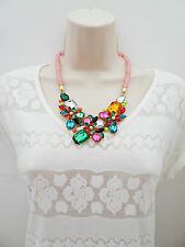 Sparkly Bib Necklace in Pink  with Diamante in a Flower Design