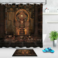 Vintage Steampunk Room Polyester Fabric Shower Curtain Set Bathroom w/12 Hooks