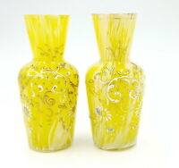 Antique Bohemian Yellow glass vases, pair , enameled