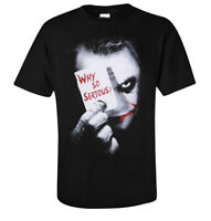 Batman Joker Why so Serious Poker Logo T-shirt Black Tee 100% Cotton Unisex