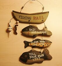 FISHING RULES Carved Fisherman Boat Bobber Fish Worm Lodge Wood Cabin Decor Sign