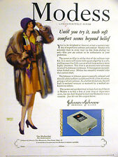 Hayden Modess w Coupon JOHNSON & JOHNSON Lady in Mink 1928 Vintage Ad Matted