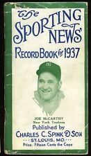 1937 THE SPORTING NEWS BASEBALL RECORD BOOK JOE MCCARTHY COVER