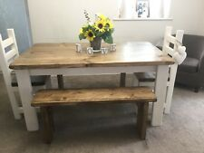Hand Crafted, Rustic, Dining Farmhouse Table, 2 Chunky Chairs and 2 Benches.