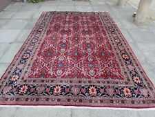 Vintage Worn Traditional Hand Made Rug Oriental Red Wool Large Carpet 302x203cm