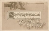 Vintage Postcard Good Health and Prosperity Flowers and Trees Illustration