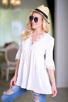 Off White Boho Peasant Gypsy Romantic Lace Tunic Empire Long Blouse Shirt Top