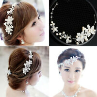 Pearl Flower Crystal Women Wedding Bridal Headband Head Hair Band Tiara Decor