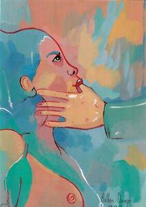 original painting A4 81SO art stylization Modern Mixed Media female nude