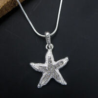 Women's 925 Solid Silver Clear Crystal Cute Starfish Pendant Chain Necklace