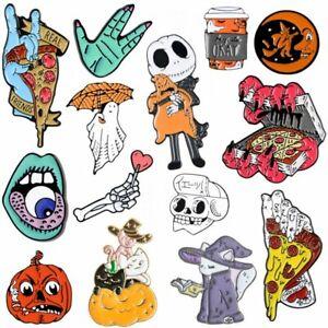 Halloween Cartoon Brooch Pins Ghost Pumpkin Enamel Skeleton Collar Lapel Party