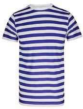 Men Striped Stripy Crew Neck Short Sleeve T-shirt Blue&white Stripe 2xl