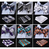 HISDERN Check Dot Men Woven Silk Wedding Self Bow Tie handkerchief Set#RC2