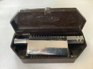 Vintage Souplex Safety Razor Art Deco Bakelite Case Complete & Blades