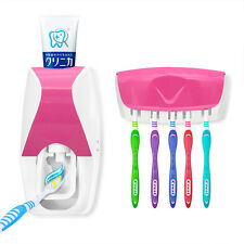 Automatic Toothpaste Dispenser + 5 Toothbrush Holder Set Wall Mount Stand Pink