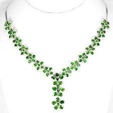 Sterling Silver 925 Genuine Natural Chrome Diopside Flower Drop Necklace 18 Inch