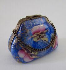 Limoges Peint Mein France Porcelain Pansy Purse Trinket Box