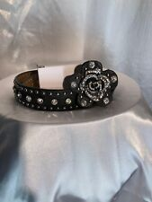 Nocona Black Girl's Rhinestone Belt 22 Rhinestone Rose Buckle non detachable
