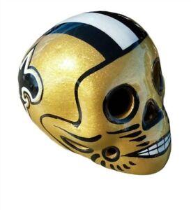 New Orleans Saints Skull Helmet Ceramic MX. Clay Figure, Hand made/Painted 3''