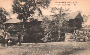 Keene, New Hampshire, NH, Old Covered Bridge, Vintage Postcard a3516