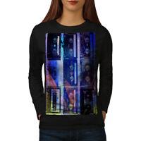 Wellcoda Cassette Print Art Womens Long Sleeve T-shirt, Music Casual Design