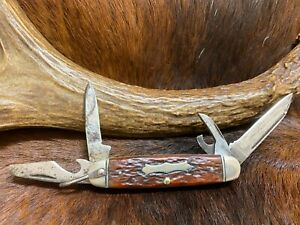 Vintage Boker USA 9361, 4 Blade Scout, Camp Pocket Knife, Jigged Brown Bone