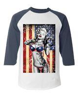Marilyn Monroe Bikini American Flag Baseball Raglan T-shirt 4th of July USA Tee