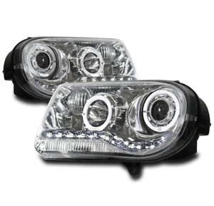 FOR 05-10 CHRYSLER 300 C HALO LED DRL CHROME PROJECTOR HEADLIGHT HEADLAMPS LAMPS