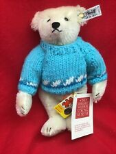 Vintage White Steiff Teddy Bear 9 3/4 Inch Collectible 1985 No 0158/25 w Sweater