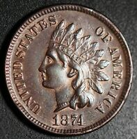 1874 INDIAN HEAD CENT With LIBERTY & DIAMONDS - XF EF