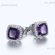 Stunning! 10K White Gold 6x6mm Cushion Cut Genuine Amethyst Stud Fine Earrings
